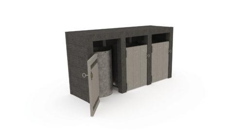 Point tri avec 3 bacs de 70 L, coloris gris et noir, Plastique recyclé