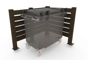 Vue 3D d'un cache-conteneur 401.B, type persienne