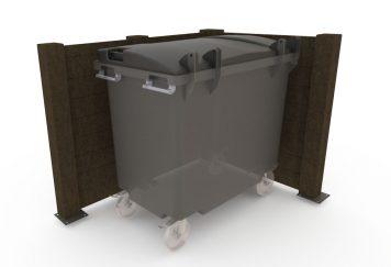 Visuel en 3D d'un bac roulant dans un cache-conteneur de type palissade pleine