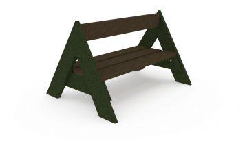 Banc en forme de tipi, coloris de l'assise : marron, coloris des côtés : vert