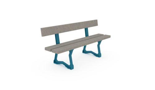 Banc pour les écoles primaires en pastique recyclé pour aménagement extérieur, coloris sable, pieds en fonte bleu