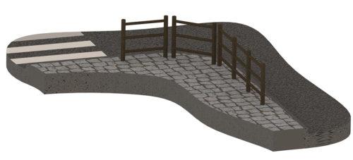 Exemple de conception en 3D d'une barrière ronde avec 3 lisses