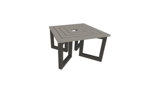 Table en plastique recyclé, coloris gris et noir
