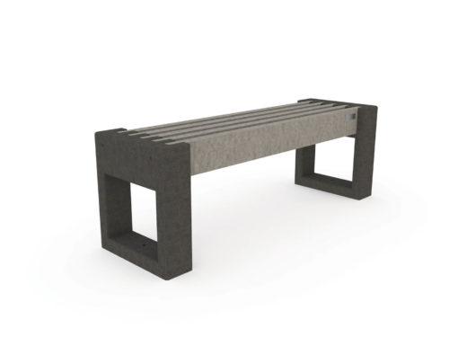 Banquette urbaine Plas Eco en plastique recyclé, coloris gris et noir, modèle CA120