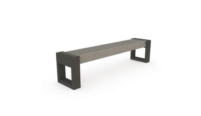 Banquette CA180 de coloris gris et noir, plastique recyclé Plas Eco
