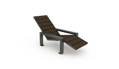 Chaise longue en plastique recyclé de la gamme Harmonie, structure en acier galvanisé