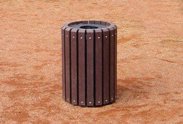 Corbeille publique, coloris marron, plastique recyclé Plas Eco, Modèle 204.B