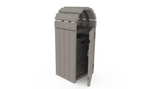 Corbeille de ville en plastique recyclé, modèle 211, coloris gris