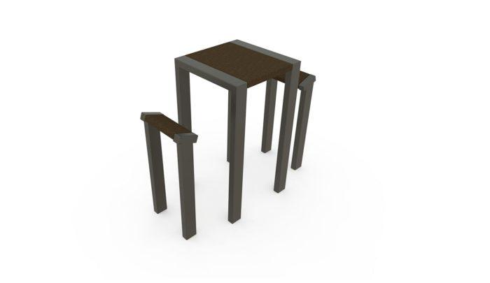 Table et deux assises, structure en acier gris sablé 900, Mobilier urbain en plastique recyclé