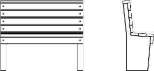Vue filaire de face et de profil du banc Plas Eco 120.EHPAD
