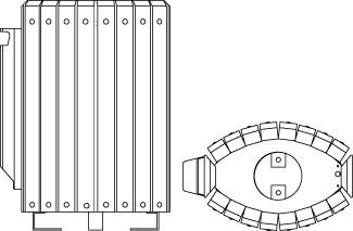 Vues techniques de la corbeille cendrier 208.CEND