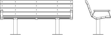 Visuel filaire de face et de profil du banc 300.XXL.AC