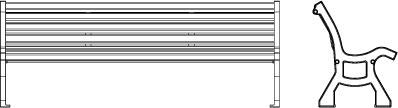 Vue de face et de profil en filaire du banc 320