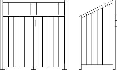 Exemple de dessins techniques d'un abri de propreté sur mesure