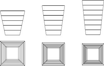 Vues techniques du dessus et de face des jardinières coniques AT68, AT83 et AT97