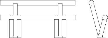 Vue de face et de profil en filaire de l'assis-debout LEV.X