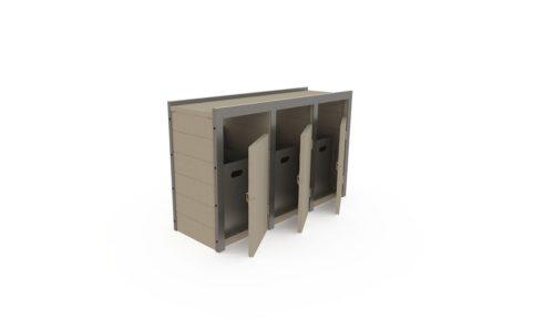 Point tri avec 3 bacs en plastique recyclé, finition standard, coloris sable