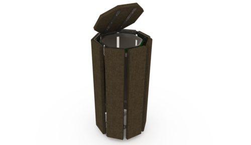 Poubelle publique 209.B, en plastique recyclé Plas Eco, coloris marron