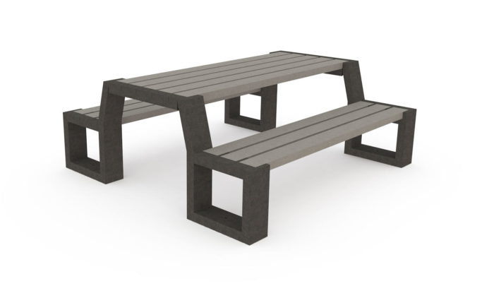 Table de pique-nique, banquettes intégrées, plastique recyclé sable et noir