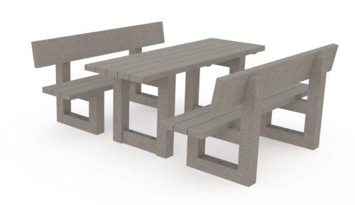 Table de pique nique avec deux bancs