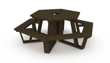 Table de pique-nique hexagonale avec assises en plastique recyclé, coloris marron