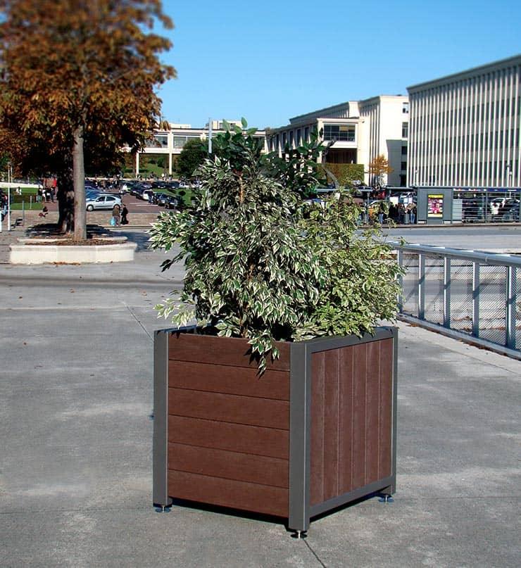 Jardinière de la gamme Harmonie, mobilier urbain Plas Eco en plastique recyclé