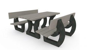 Table de pique-nique en plastique recyclé de la gamme Origine de Plas Eco