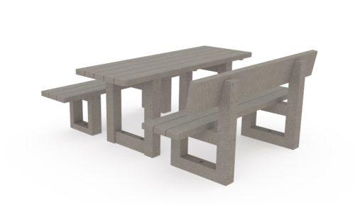 Table de pique-nique + 1 banc + 1 banquette, Gamme Origine Plas Eco, 100% plastique recyclé