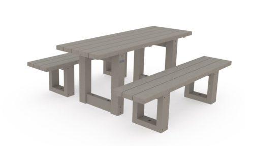 Table de pique-nique et ses deux banquettes - 100% plastique recyclé, coloris gris