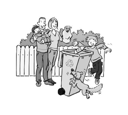 1 famille de 4 personnes recycle ses déchets