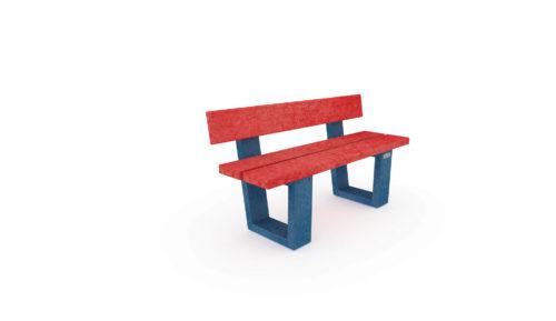 Banc en plastique recyclé de couleur bleu et rouge - Gamme Nuances pour les bambins