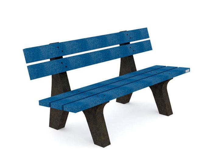 Banc Plas Eco en plastique recyclé de couleur bleu, pieds noirs, Gamme Nuances