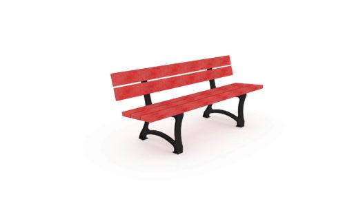Banc urbain de couleur rouge en plastique recyclé, gamme Nuances de Plas Eco