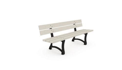 Banc Plas Eco de la gamme Nuances en plastique recyclé blanc, pieds en acier noir