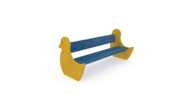 Banc Poussin en plastique recyclé - Assise bleu, Poussin Jaune