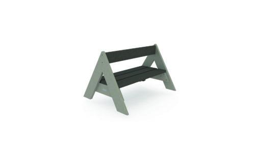 Banc Tupi finition stanrdard, assise marron, pied gris en forme de Tipi
