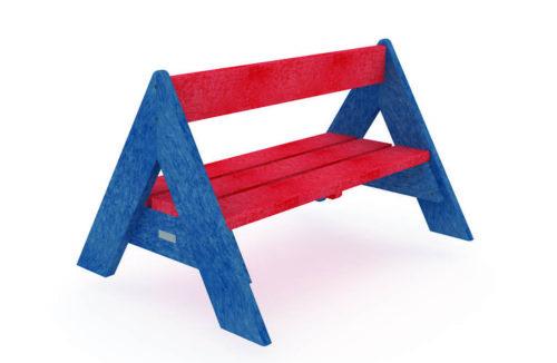 Banc bleu et rouge, pieds en forme de Tipi