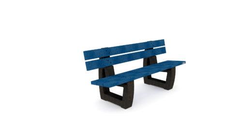 Banc NU-BC-04-NB de couleur bleu, gamme Nuances de Plas Eco, 100% plastique recyclé