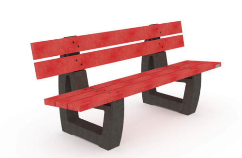 Banc de la gamme Nuances en plastique recyclé de couleur rouge, pieds noirs