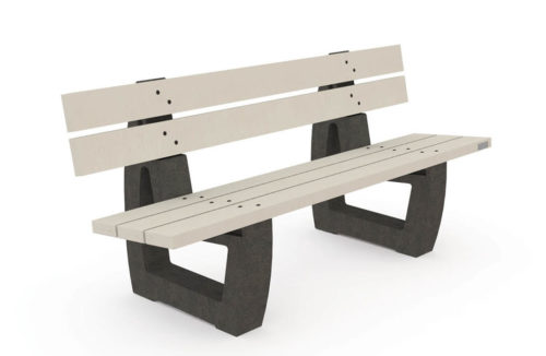 Banc NU-BC-04-NW - 100% plastique recyclé, assise blanche et pieds noirs