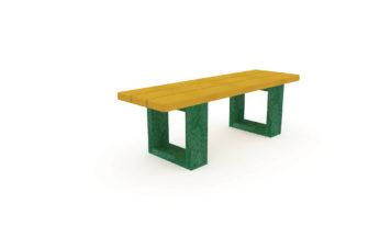 Banquette en plastique recyclé jaune et vert pour les enfants