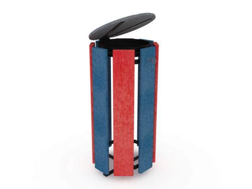 Corbeille pour les déchets - Coloris rouge et bleu - 100% plastique recyclé