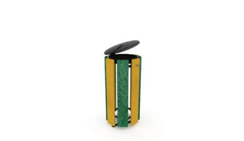 Corbeille en plastique recyclé de couleur verte et jaune