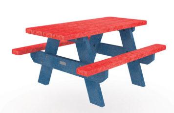 Table de pique-nique en plastique recyclé rouge et bleu