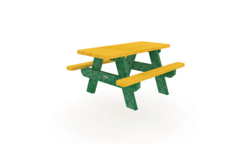 Table de la gamme Nuances Plas Eco 100% en plastique recyclé jaune et vert